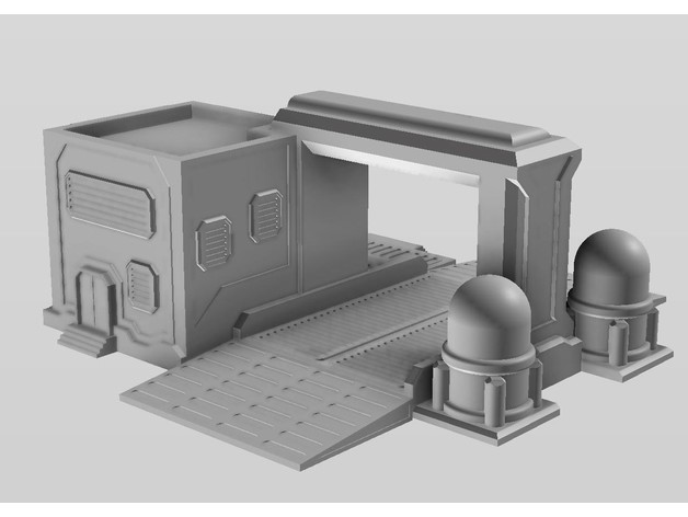 sci fi fueling station terrain for wargaming by rifledoctor7303 rh thingiverse com