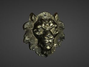 Metal Lion Head 3D Scan