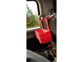 Car headrest cup holder/organizer