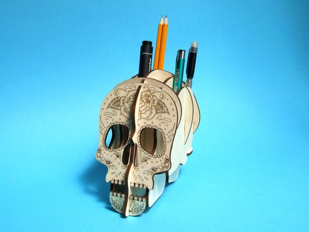 Skull 3d Pens Holder By Lesmarco Thingiverse