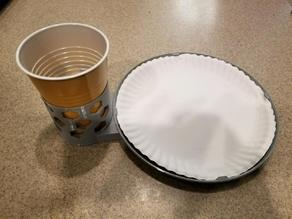 Paper plate and plastic cup holder