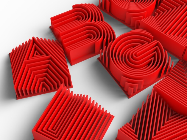 3d printed letters heatwave 3d printable typeface by lorenipsvm thingiverse 20096 | LorenLetters.827 preview featured