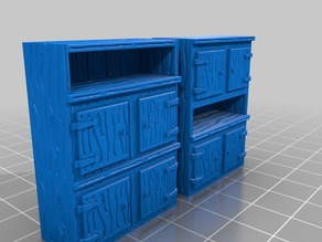 Two Wooden cabinets for 28 mm