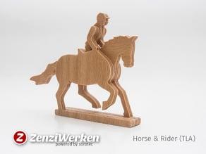 Horse & Rider 3-layered-animal cnc/laser