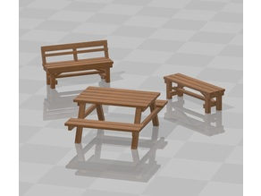 Park bench set H0 scale