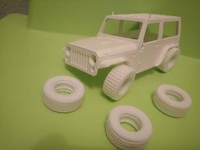 Flexible tires of 3 types for Orlandoo Hunter Jeep 1/35 scale / Neumáticos flexibles de 3 tipos para Orlandoo Hunter