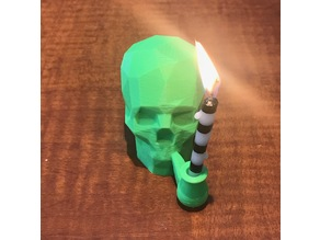 "Low-Poly ""Smoking"" Skull Candle Holder"