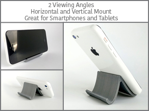 Wave - a smart Smartphone and Tablet Holder: Two Viewing Angles, Horizontal and Vertical Mount.