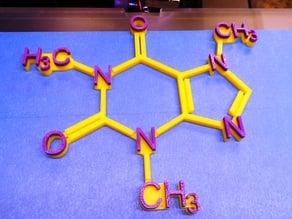 Caffeine Molecule with Raised Lettering