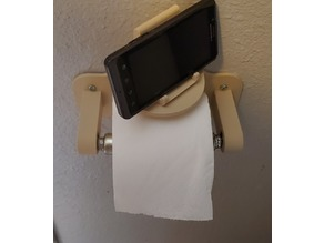 Toilet paper holder with rotating phone rest