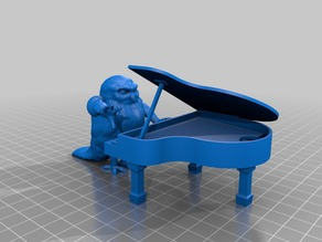 Bird with arms angrily playing piano