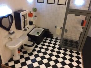 Miniature towel hanger & shampoo  (bathroom)
