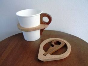 Coffee Cup, Holder, Don't burn Yourself, Add a Ring to hold cup.