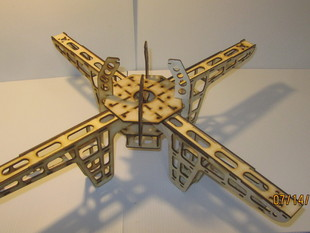 "Lasered quadcopter.  24"" wide, 3mm plywood."