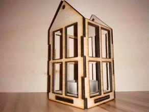 Hanging plywood tea light house