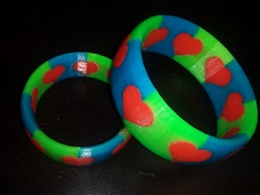 Triple-Color Ring - Hearts