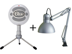 Blue Snowball to ikea lamp arm mount.