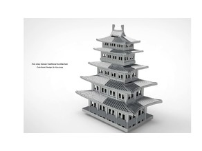 Five-story Korean Traditional Architecture Coin Bank&Case