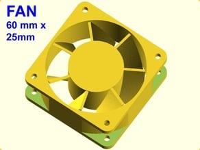 OpenSCAD 60mm x 25mm fan model