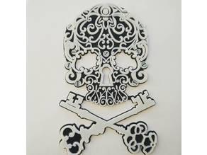 Skull and bones in the form of keys