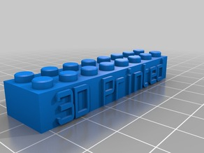 Lego Block Keychain with '3D Printed' text
