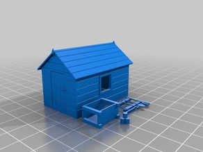 OO Gauge Garden Shed, Potting Bench and Tools