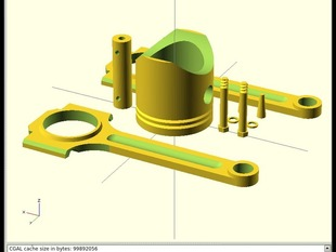 Piston and Rod with bolts, nuts, and pins included