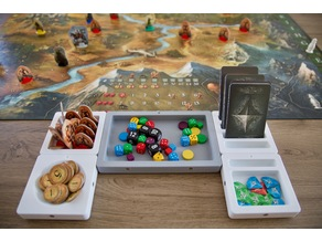 Modular tile system for organizing board game tokens