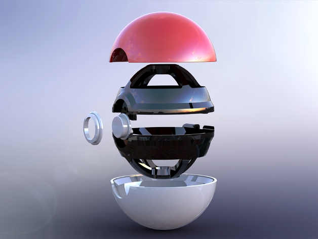 PokeBall - Fully Functional with Button and Hinge