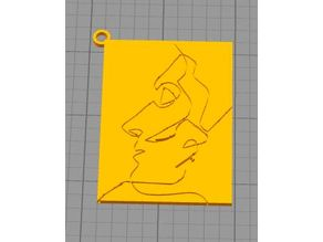 Picasso Kissing Line Drawing Keychain