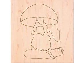 Fungus  puzzle montessori for laser cut