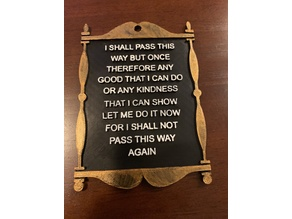 Poem Wall Plaque - I Shall Walk This Way But Once