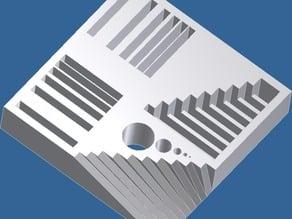 Calibration block - thin walls, overhang, bridge, holes