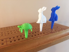 Tortoise and Hare cribbage pegs