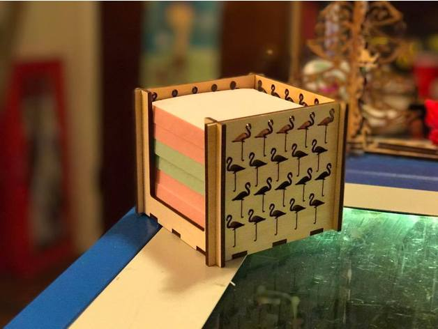 Laser Cut Flamingo Post It Note Holder 3x3 Sticky Notes