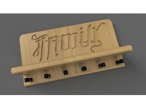 Family/Famille Ambigram Wall Key Holder