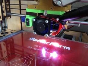 click on led bar for makerfarm prusa i3 with ventilation shaft for e3d v6 hot end