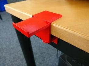 Headphone holder for narrow table top desks
