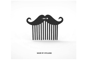 a mustache-shaped hairbrush