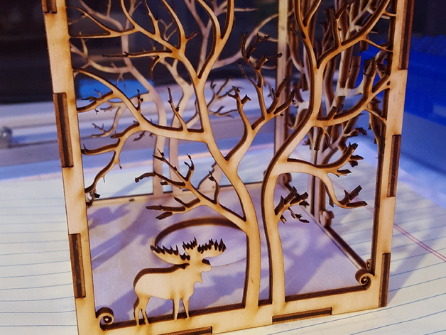 Candle Holder Laser Cut Tree Amp Animals Wood Present Tea