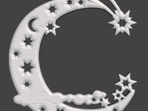 Christmas Tree Ornament - Moon and Stars