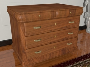 A wooden chest of drawers