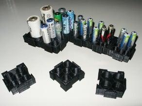 Modular battery holder for AA, AAA, C, D size batteries