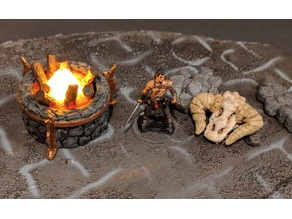 Large Stone Brazier / Bonfire - Tea Light - 28mm gaming