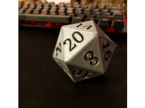 Snap-together Icosahedron - D20 - With Numbers