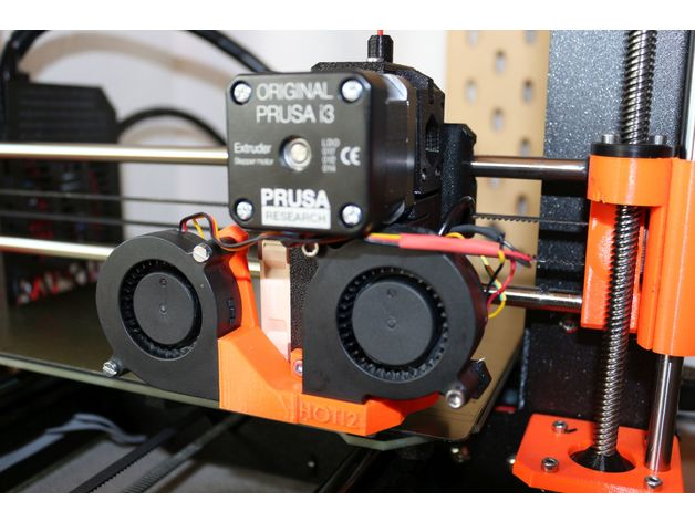 Dual Part Cooling Fan Mount / Shroud with Nozzle View for