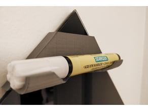 Marker holder for diagonally aligned rectangle white/black board