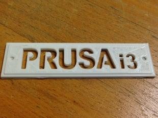 Prusa i3 Name Plate
