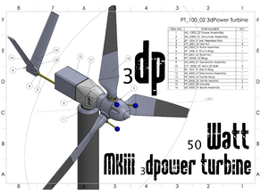 MKIII 50 Watt 3d printable Wind Turbine