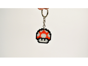 8bit Mario Mushroom Keychain